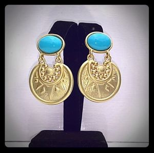 '80s VINTAGE Egyptian Revival Gold Turquoise Drop